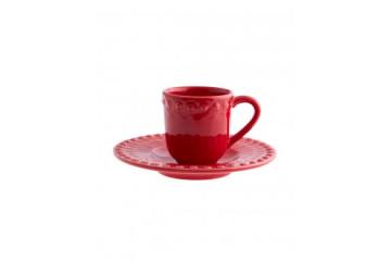 Chávena café c/pires Vermelho