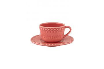 Chávena chá c/pires chá Rosa